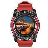 NONGLAN Smart Watch Bluetooth-compati Sim Card 2g Digital Digital Watch Orologi da Polso Dormire Monitor Sport Orologio Sportivo per iOS Android(Color:Rosso)