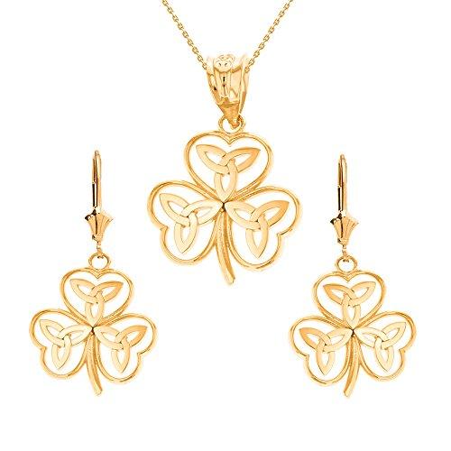 14k Yellow Gold Irish Shamrock Necklace with Celtic Trinity Knot Earring Set, 22'