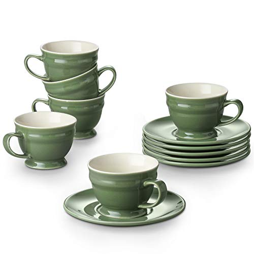 Dowan Espresso Cups, 3.5 oz Espresso Cups and Saucers Sets, Espresso Coffee Cups with Handle, Espresso Shot Cups for Espresso, Small Cappuccino, Demitasse Cups, Microwave and Dishwasher Safe, Set of 6