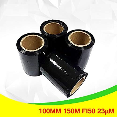 4 x Pack Stretch Verpackungsrolle Schwarz von Net4Client - Paket Verpackung Boxen Wrap Frischhaltefolie Stretch Rollen Schnelle Starke Verpackung Paket 100mm 150m 23μm