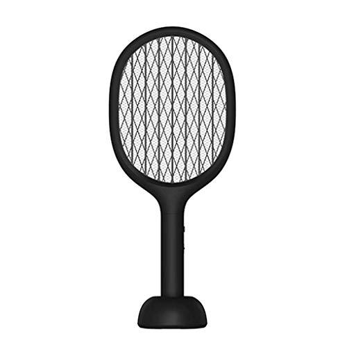 VOLORE Eléctrico Mosquito Mosca Loco Matamoscas, Protección de Malla de Seguridad de 3 Capas/USB Base Recargable/UV LED, Plagas Insectos Asesino Repelente(Negro)