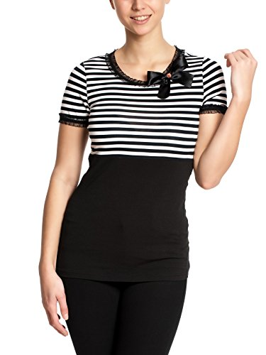 Pussy Deluxe Stripey Black/White on Black Shirt, Größe:S