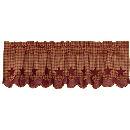 VHC Brands Primitive Kitchen Curtains Cody Rod Pocket Cotton Appliqued Star 16x60 Valance, Burgundy Red