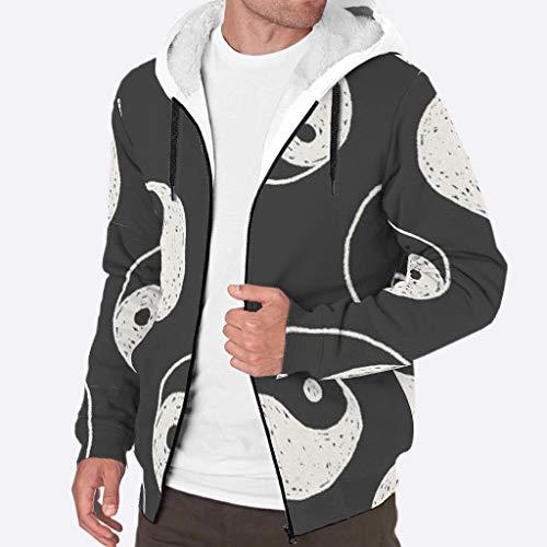 RQPPY Herren Pullover Winter Hoodies Sweatshirt Winter Dicke Fleece Yin Yang Jacke M weiß
