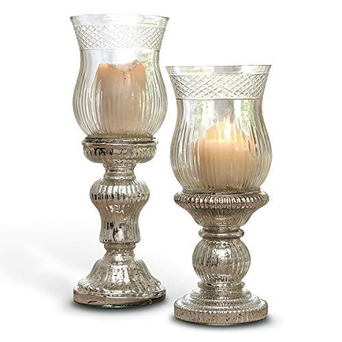 Loberon Kerzenständer 2er Set Luisant, Glas, H/Ø ca. 35/12 cm, klar/Silber