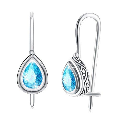 NYKKOLA Pendientes de plata de ley 925 con circonita cúbica, diseño de lágrima, color azul, regalo para mujeres y niñas