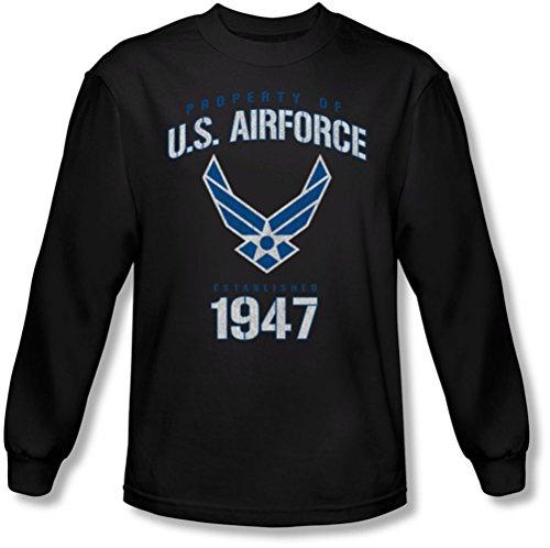Air Force - - Propriété des hommes de t-shirt à manches longues, Large, Black