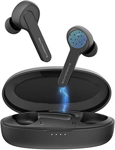 SoundPEATS Auricolari Wireless TrueCapsule Nuova Versione Cuffie TWS Bluetooth 5.0 accoppiato automatico (Mic HD, Audio Stereo, Smart Touch, IPX5, 24-Ore Riproduzione)