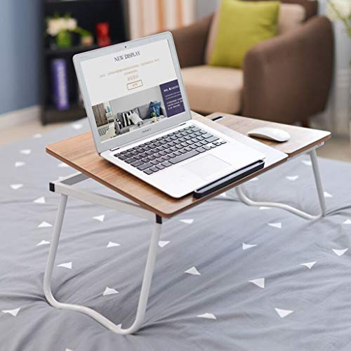 BRADEM Folding Lapdesk Portable Laptop Bed Tray Table 5 Height Adjustable Bed Desk Anti-Slip with Phone Holder& Foldable Legs Free Installation for Reading Working Eating on Sofa&Bed