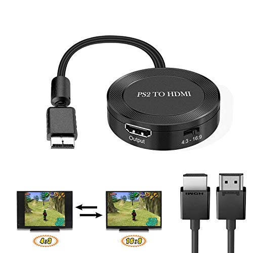 PS2 to HDMI,PS2 to HDMI Converter,PS2 to HDMI Adapter,PS2 HDMI Cable,Support 4:3/16:9,Plug and Play PS2 to HDMI Converter,PS2 for AV Cable Allows RGB Mode PS2 to Connect to Any HD TV