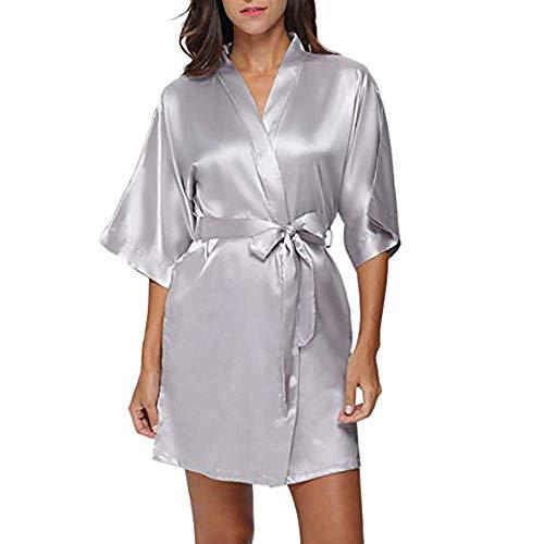 HULKY Solde Donna Pigiama Kimono, Scollo V Elegante Vestaglia Corta in Raso, Camicia da Notte con Cintura Praka Boho(Grigio,Medium)