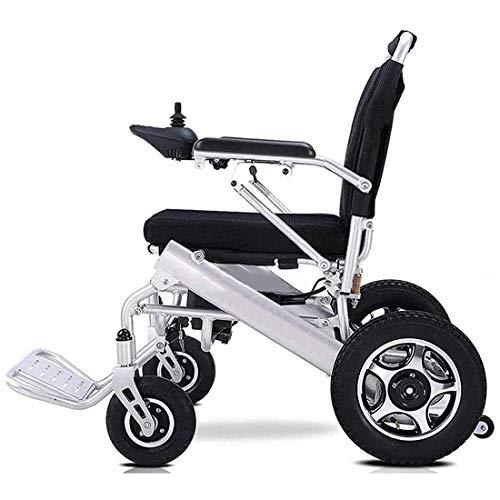 GGD Ultraleichter Faltbarer Elektrischer Rollstuhl, Intelligente Automatische, kompakter Elektrorollstuhlantrieb mit Elektrorollstuhl oder manuellem Rollstuhl,Silber