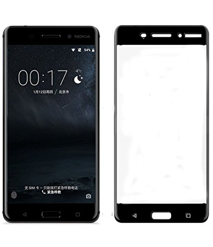 Karirap Top Quality ultra clear, 9H hardness,2.5D Curved, shatterproof, anti explosion, scratch free, bubble free, oil resistant, reduced fingerprint tempered glass screen protector glass for Nokia 6 4G - Black