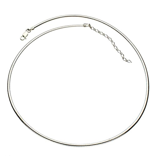 "Sterling Silver 2mm Flat Oval Domed Omega Chain Necklace Italy 16""+2"" Extender"