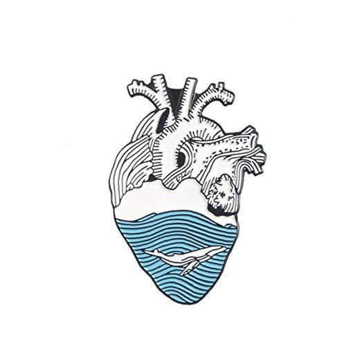 Joyería del Pin del Corazón del Corazón Broches De Ropa Bolsa Pin De La Solapa La Insignia Médica Blanca del Regalo