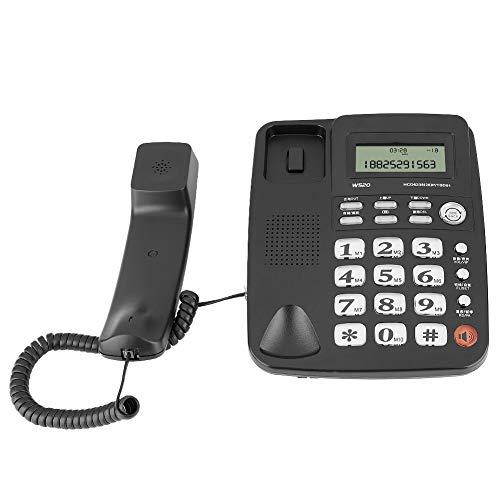 Telefono senza fili, W520 Telefono fisso senza fili per la casa Telefono fisso per ufficio a casa mobile Telefono fisso, Supporto Chiamate a mani libere Composizione veloce a doppio tasto(nero)