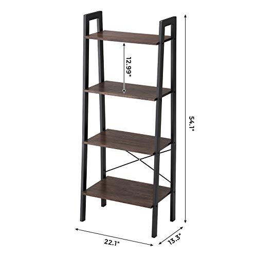 VASAGLE Industrial Bookshelf, 4-Tier Ladder Shelf, Free Standing Storage Shelves, Stable Metal Frame, Living R   oom Kitchen or Balcony, Easy to Assemble, Rustic Dark Brown ULLS44BF