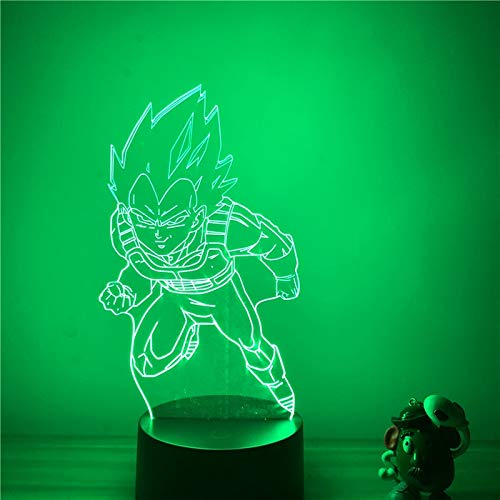 3D LED Nachtlampje Anime Dragon Ball Z Vegeta Striking Ver. Action Figure 7 Colors Touch Optical Illusion Tafellamp Home Decora