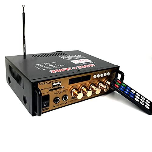 Mini Bluetooth Amplificador Audio, Mezclador de Karaoke,600W HiFi de 2.0 Canales Audio Stereo Music Reproductor, SD Card/USB Input/ FM Radio, para PC, TV, Amplificador Coche, casa Altavoz, subwoofer