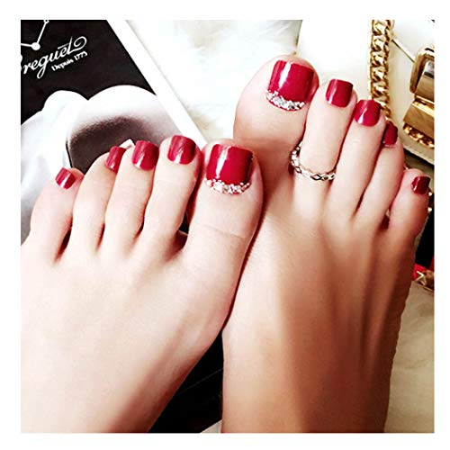 Fstrend Glitter Rhinestone Fake Toenails Red Short Full Cover Fake Nail for Toes Acrylic 24Pcs Feet Nails Art Tips for Women and Girls