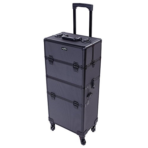 Mefeir 2-in-1 Rolling Makeup Train Case,4 Removable Wheels,with Extra Bottom Lid+Shoulder Strap+Mirror,Lockable Beauty Cosmetic Travel Cart Trolley Salon Organizer, Ideal Xmas Gift (Black)