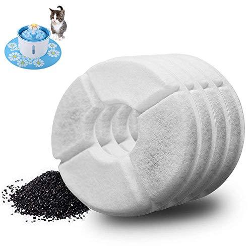 FONLAM 4 Filtros de Carbón Activado de Fuente 1,6L para Gato Perrito Perro Cachorro Mascota Pájaro Reemplazos de Filtros de Bebedero Automático de Silencio Gato (4* Filtros de Carbón)