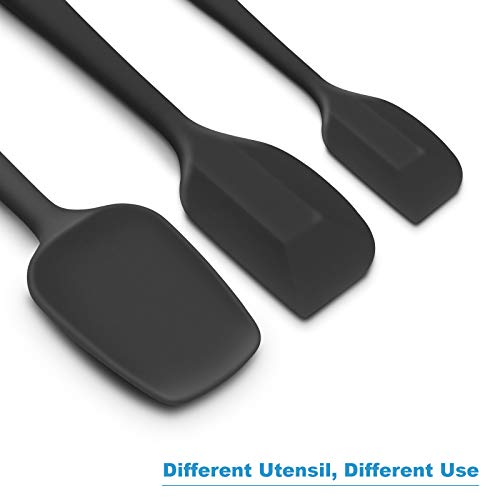 Silicone Spatula 3-piece Set, Ergonomic Handle High Heat-Resistant Spatulas, Non-stick Rubber Spatulas with Stainless Steel Core, Black