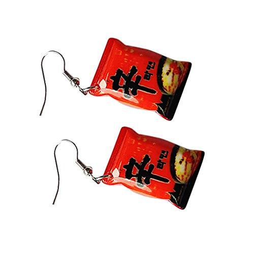 Republe Mädchen Instant-Nudeln Form Kunststoff baumeln Ohrringe Frauen Quadrat-Anhänger-Ohr-Haken Schmuck Geschenk