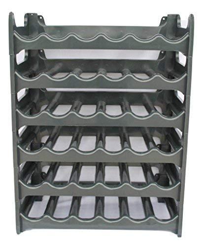ARTECSIS Weinregal stapelbar Kunststoff für 36 Flaschen, stabiles leichtes Flaschenregal für Keller, Gastronomie und Lagerraum, modular erweiterbare Flaschen- und Weinlagerung, Anthrazit