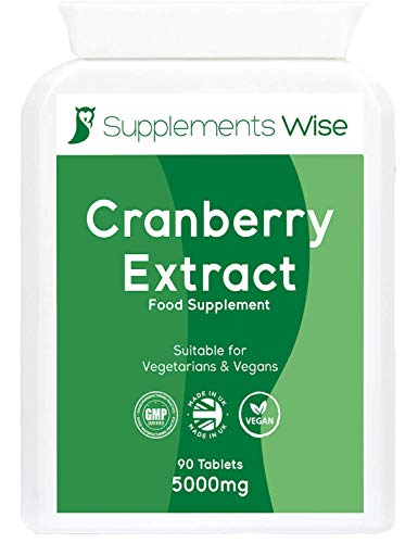 Cranberry Tablets for Urinary Infections - 90 x 5000mg - High Strength Extract for UTI Pain Relief - Healthy Bladder and Kidney Cleanse Supplement - Effective Cystitis Remedy for Women and Men