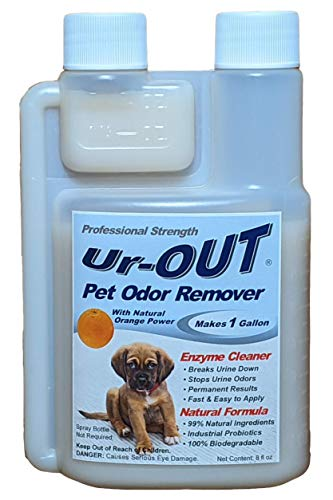 Ur-OUT Industrial-Strength Pet Urine Odor Remover is a 99% Natural Cleaner with Probiotic & Orange Power That's Guaranteed to Eliminate Dog & Cat Pee Smell in Carpet, Hardwood Floors, Tile & Concrete