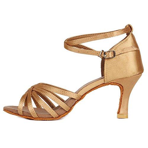 HROYL Zapatos de Baile/Zapatos Latinos de el Beige satén Mujeres ES7-F13 EU 35