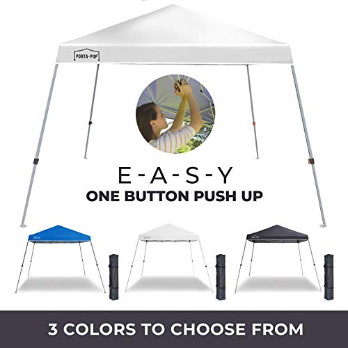 PORTA-POP One Button Easy Pop Up 10x10 ft Portable Folding Canopy Slant Leg Instant Shelter with Carry Bag, White