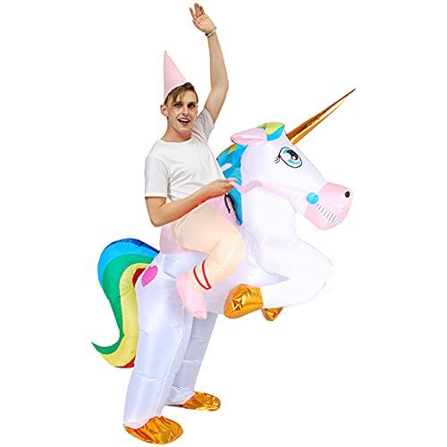 CYYMY Disfraz Inflable,Unicornio a Caballo Traje Cosplay Fiesta,para Adulto Disfraz Hinchable Halloween,Caballo Hinchable Disfraz Vaquero Hinchable Disfraz,1