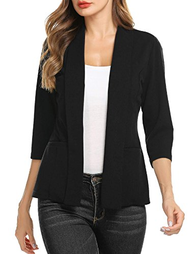 Meaneor Damen schwarzer Blazer Jacke Damen Kurzblazer Sweatblazer Slim Fit Anzug Sakko