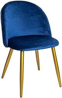 Regalos Miguel - Sillas Comedor - Silla Vint Terciopelo Golden - Azul Marino - Envío Desde España