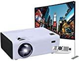 RCA RPJ136 LCD Home Theater Projector with LED Projection Lamp 1080p HD Compatible Bundle RPJ123 Indoor Outdoor 100' Diagonal Portable Projector Screen Kit