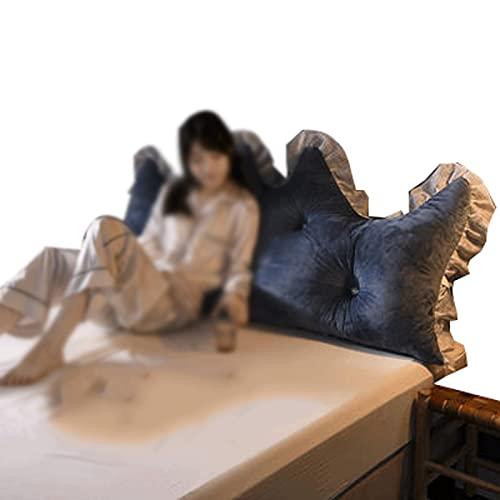 ZWDM Almohada extraíble para la parte posterior de la cabecera del sofá cama tapizado suave doble cojín de apoyo lumbar (color: azul, tamaño: 1,2 x 70 cm)