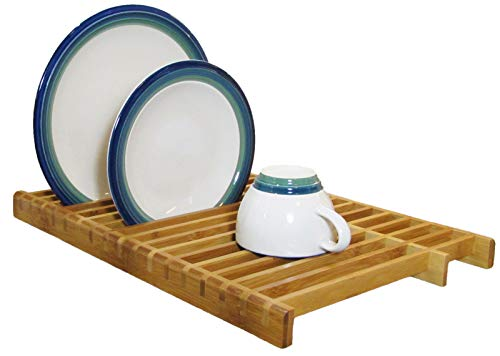 KitchenEdge Over The Sink Dish Drying Rack, Plate Pot Drainer for Kitchen Countertop, 100% Natural Bamboo