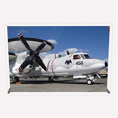 CuVery アクリル プレート 写真 航空自衛隊 早期警戒機 E-2C デザイン スタンド 壁掛け 両用 約A3サイズ