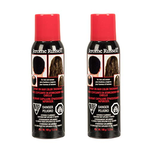 Jerome Russell Spray-on Color Black Hair Thickener, for Fine and Thinning Hair, Conceals Bald Spots, Grey Hair, Hides Root Re-growth, Works for Men and Women, 3.5 oz - 2 Pack