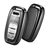 OATSBASF Autoschlüssel Hülle Geeignet für Audi,Schlüsselhülle Cover Case für A4 A5 A6 A7 Q5 Q7 Q8 RS SQ Seat 3-Tasten Keyless Schlüsselbox (Schwarz)