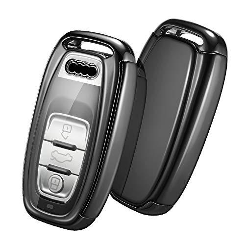 OATSBASF Autoschlüssel Hülle Geeignet für Audi,Schlüsselhülle Cover für Schlüssellose Bedientasten A4 A5 A6 A7 Q5 Q7 Q8 RS SQ 3-Tasten Schlüsselbox Hülle (Schwarz)
