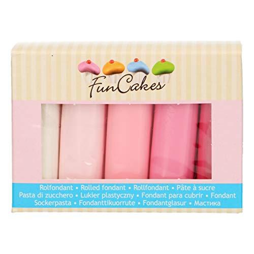 FunCakes Fondant Multipack Pink Palette: Einfach zu Verwenden, Flexibel, Perfekt zum Dekorieren von Torten, Halal, Koscher und Glutenfrei. 5 Farben: Weiß und 4 Rosatöne. 5x 100g