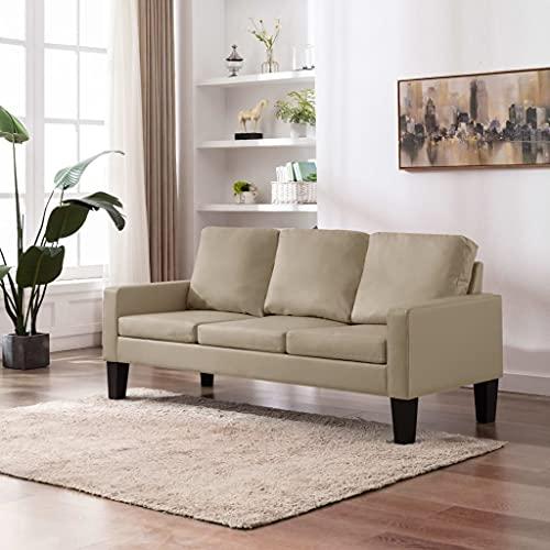 YOPOTIKA Sofa Couch Kunstleder Wohnmöbel Polstergarnitur 3-Sitzer-Sofa Cappuccino-Braun Kunstleder