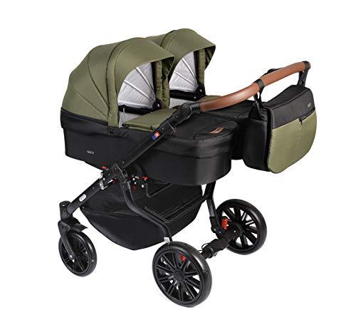 Dorjan Quick Twin Zwillingskinderwagen (Seite-an-Seite) Kombi kinderwagen Duo Buggy Wickeltasche + Regenschutz + Insektenschutz (3in1 (inkl. Babyschalen), (TQ16) Schwarz-Grün)