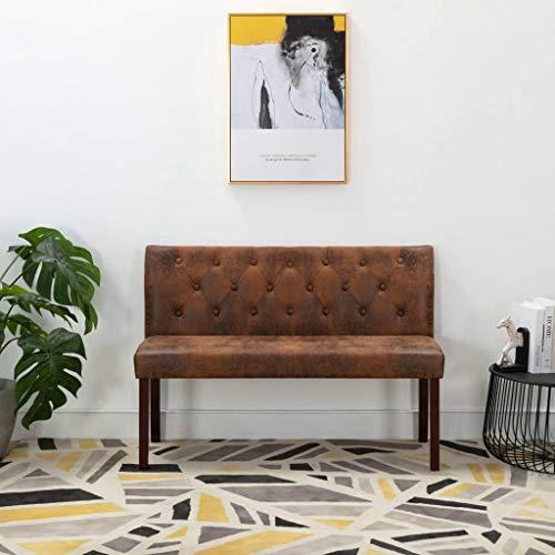 UnfadeMemory Sitzbank Polsterbank in Wildleder-Optik Flurbank Flur Schlafzimmer Wohnzimmer Retro-Stil Gepolsterte Bank mit Rückenlehne mit Knopfmuster (128,5 x 52 x 84,5 cm, Braun)