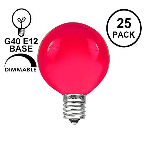 Novelty Lights 25 Pack G40 Outdoor String Light Globe Replacement Bulbs, Pink, C7/E12 Candelabra Base, 5 Watt