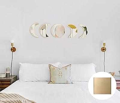 YUBAIHUI Scandinavian Bohemian Home Decor Design Wooden Moon Phase Wall Mirror Acrylic Bedroom Decoration Self Adhesive Ornament Living Room Decor (Beige)