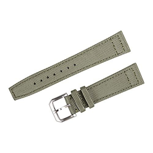 XUSHI Correa de reloj de bolsillo de cuarzo liso vintage de nailon compatible con IWC PILOT, correas de lona negro verde 21 mm 22 mm correa de reloj con hebilla de alfiler reloj de bolsillo